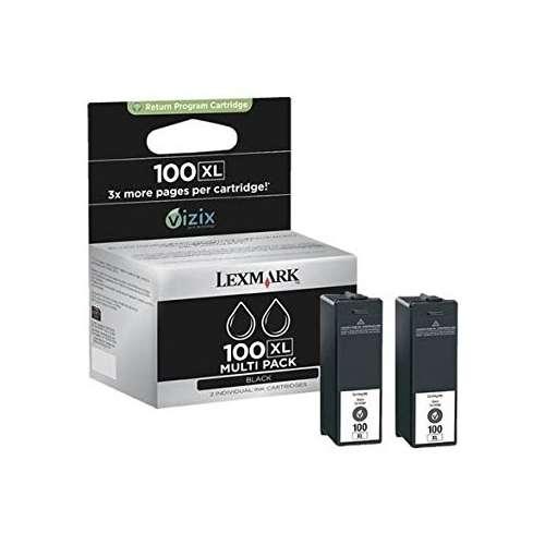 Lexmark 100XL noir Cartouche d'encre d'origine X 2 au meilleur au prix sur promos-boutique.com