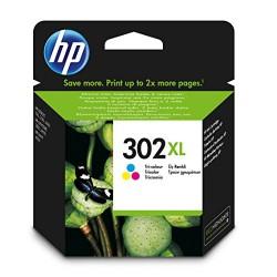 HP 302XL Cartouche d'Encre Trois Couleurs (Cartouche Cyan, Magenta, Jaune) Authentique Grande Capacité (F6U67AE)