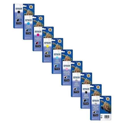 9 Cartouches d'encre epson t1571/72/75/73/74/76/77 78/79, pour epson stylus photo r3000 r 3000 cartouches d'encre avec 10 feuill