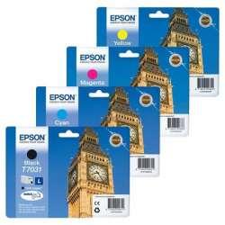4 Cartouches d'encre originales (T7031/T7032/T7033/T7034) pour Epson Workforce PRO WP 4535 DWF Cartouches d'encre + incl. 10 feu