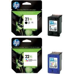 HP 21XL/22XL noir cyan magenta jaune Cartouches d'encre d'origine Pack de 2