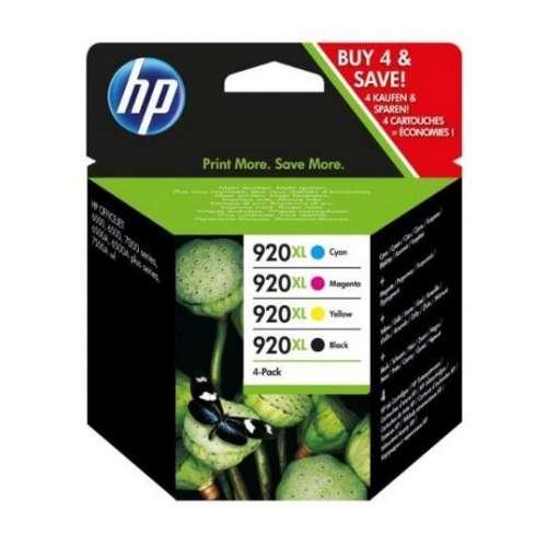 HP 920XL Pack de 4 Cartouches d'encre Noir, Couleur
