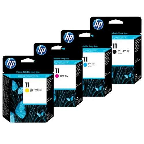 HP 11 Tête d'impression - Pack de 4 ( jaune, noir, cyan, magenta )