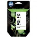 HP 56 / 56 noir, pack de 2 Cartouches