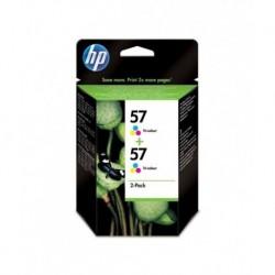HP 57 Cyan Magenta Jaune Cartouches d'encre d'origine Pack de 2