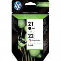 HP 21/22 noir cyan magenta jaune Cartouches d'encre d'origine Pack de 2