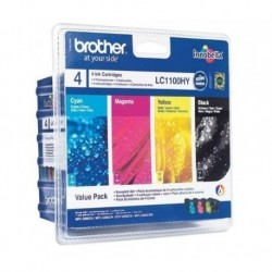 Brother LC1100HYVALBP ValuePack Cartouches d'encre d'origine Noir, Cyan, Magenta, Jaune