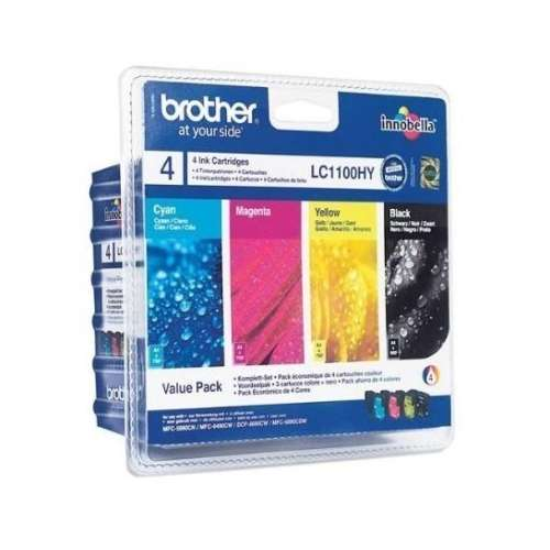 Brother LC1100HYVALBP ValuePack Cartouches d'encre d'origine Noir, Cyan, Magenta, Jaune