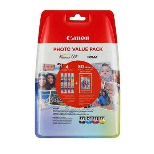 Canon CLI-521 noir, jaune, cyan, magenta Cartouches d'encre d'origine - Pack de 4