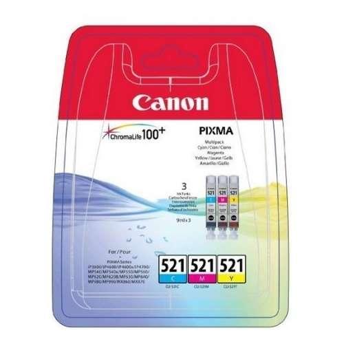 Canon CLI-521 jaune, cyan, magenta Cartouches d'encre d'origine - Pack de 3