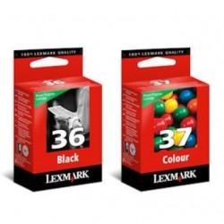 lexmark 36 noir / 37 couleur Lot de 2 cartouches d'encre